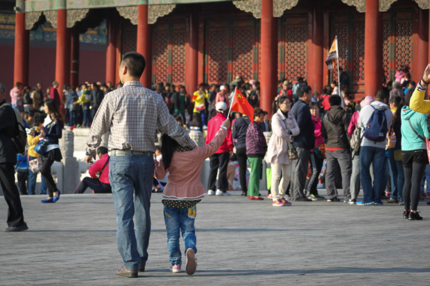 A Father and Daughter at the Palace Museum on National Day, Beijing. Photo Credit: N. McGee