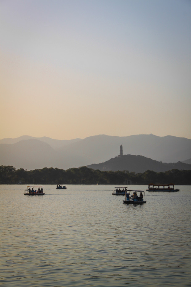 The Sun Just Beginning to Set Over Kunming Lake, Summer Palace, Beijing. Photo Credit: N. McGee