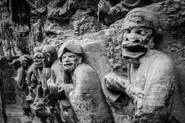 Creatures of the Buddhist Underworld, Dazu Rock Carvings, Near Chongqing. Photo Credit: N. McGee