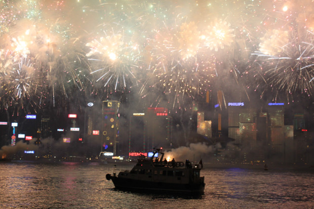 Chinese New Year Fireworks Explode Over Victoria Harbour, Hong Kong SAR. Photo Credit: N. McGee