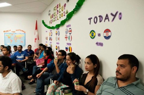 International students at Centennial College watching soccer together during World Cup 2014